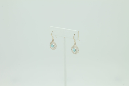 Larimar Daisy Flower Earrings #3406 side view