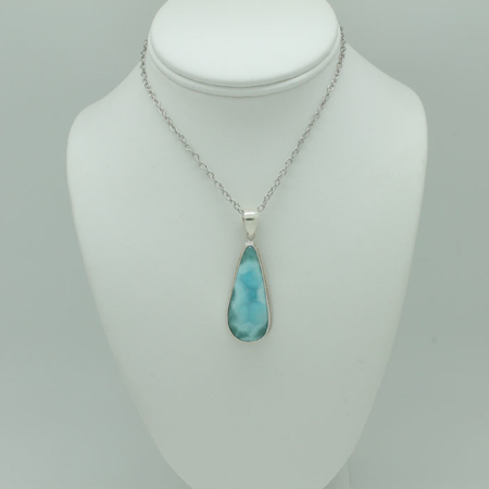 Larimar Long Tear Drop Pendant #3413
