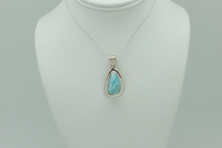 Larimar Wide Silver Setting Pendant #3415 zoom