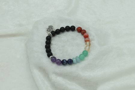 Protection Chakra Bracelet #3423 silver charm