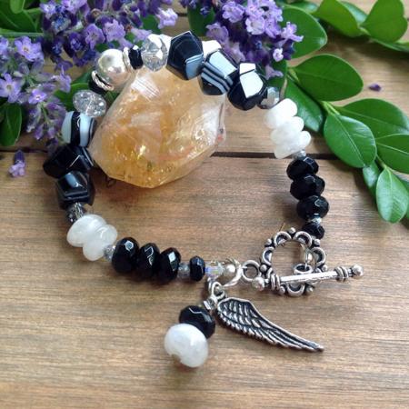 Tuxedo Agate Moonstone Bracelet #8031