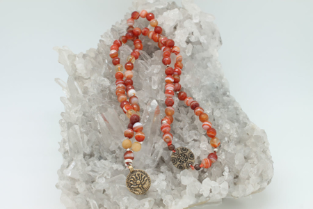 Carnelian & Citrine Necklace #8354 setting view