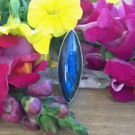 Labradorite Eye Shaped Sterling Silver Ring
