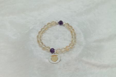Prosperity Citrine Amethyst Bracelet Angle Charm #3141