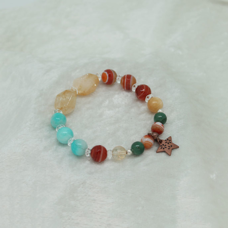 Power Within Bracelet - Citrine Amazonite Carnealian Green Aventurine #3145
