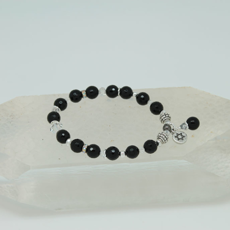 Black Tourmaline Sun Charm Protection Bracelet #3146