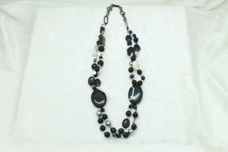 Black Lined Agate Necklace #3312