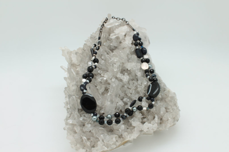 Black Lined Agate Necklace #3312 view 1