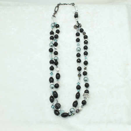 Double Black Lined Agate Gray Pearls Necklace #3314