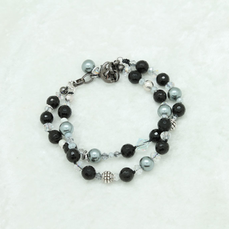 Double Black Lined Agate Gray Pearls Bracelet #3315