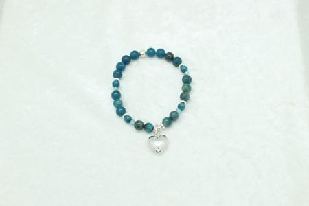 Blue Apatite Sterling Silver Heart Bracelet #3319