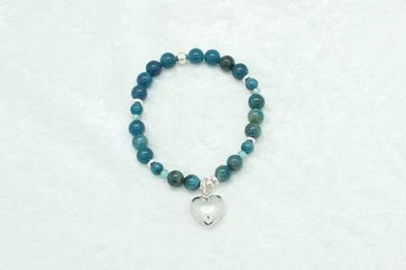 Blue Apatite Sterling Silver Heart Bracelet #3319 zoom