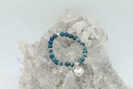 Blue Apatite Sterling Silver Heart Bracelet #3319 view 1