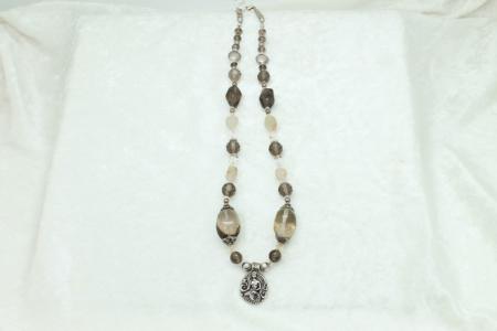 Smokey Quartz Mermaid Charm Necklace #3321