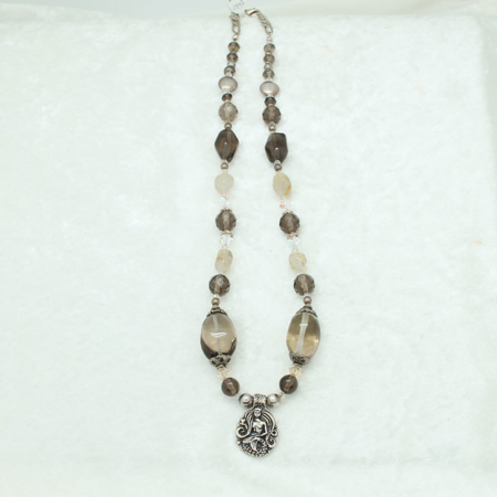 Smokey Quartz Mermaid Charm Necklace #3321