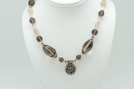 Smokey Quartz Mermaid Charm Necklace #3321 zoom