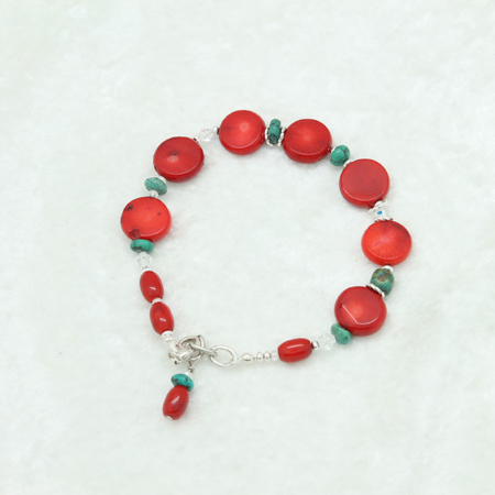 Coral Turquoise Charm Coral Bracelet #3329
