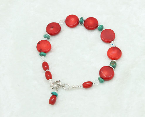 Coral Turquoise Charm Coral Bracelet #3329 zoom