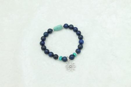 Lapis Turquoise Lotus Flower Charm Bracelet #3331
