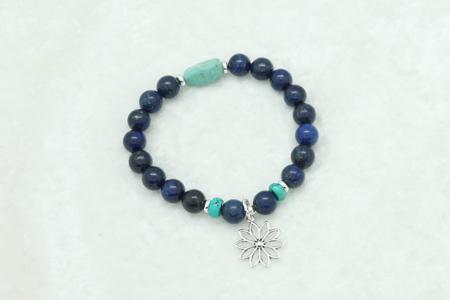 Lapis Turquoise Lotus Flower Charm Bracelet #3331 zoom
