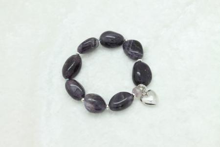 Amethyst Heart Charm Bracelet #3333