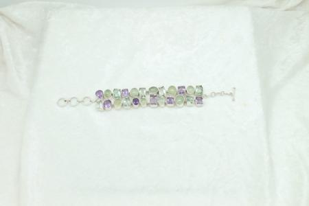 Amethyst Prehnite Chain Bracelet #3334