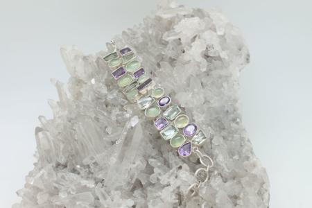 Amethyst Prehnite Chain Bracelet #3334 zoom 1