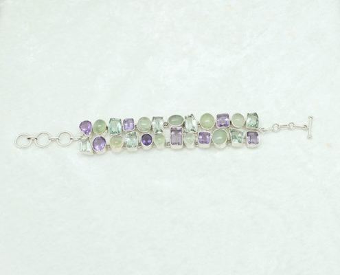 Amethyst Prehnite Chain Bracelet #3334 zoom 2