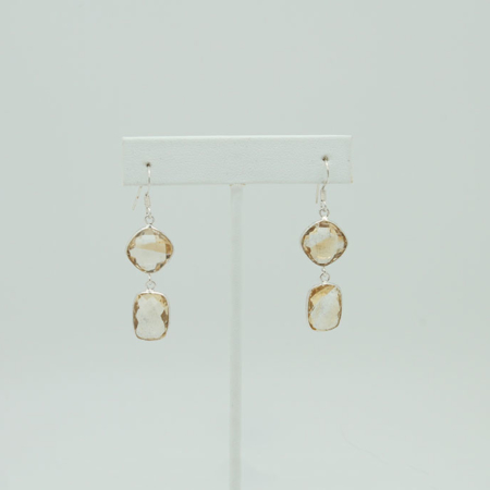 Double Drop Natural Citrine Sterling Silver Earrings #3403