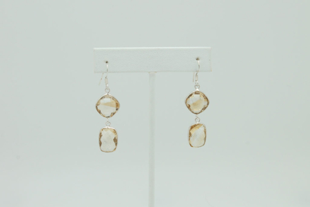 Double Drop Natural Citrine Sterling Silver Earrings #3403 zoom