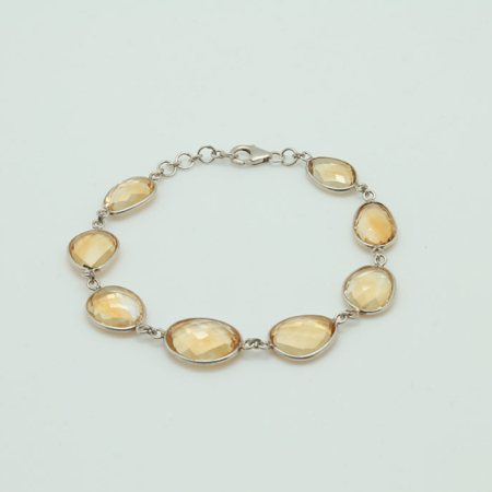 Natural Citrine Sterling Silver Bracelet #3404