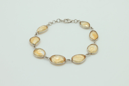 Natural Citrine Sterling Silver Bracelet #3404 zoom