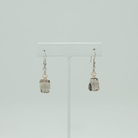 Faceted Smokey Quartz Earrings #3405
