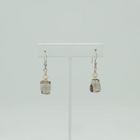 Faceted Smokey Quartz Earrings #3405