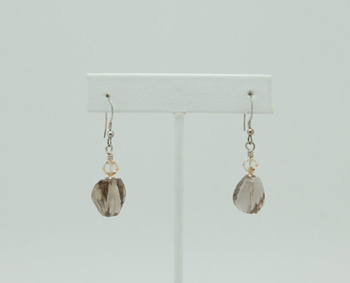 Faceted Smokey Quartz Earrings #3405 zoom