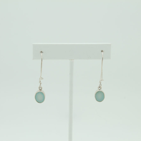Oval Green Chalcedony Sterling Silver Earrings #3407