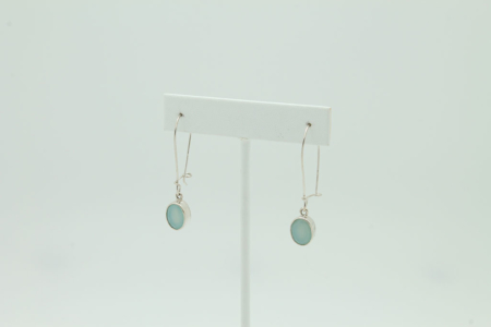 Oval Green Chalcedony Sterling Silver Earrings #3407 side view