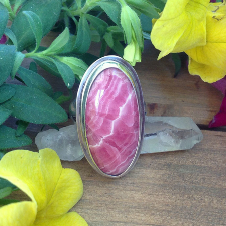 Oval Rhodocrosite Sterling Silver Ring