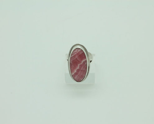Oval Rhodocrosite Sterling Silver Ring #3408