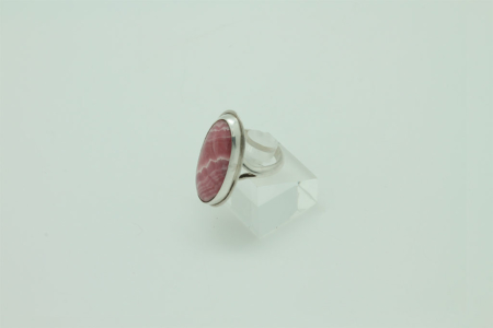 Oval Rhodocrosite Sterling Silver Ring #3408 side view 2