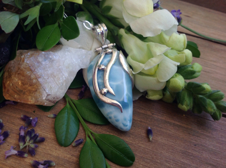 Larimar Teardrop in Silver Wrap #4068