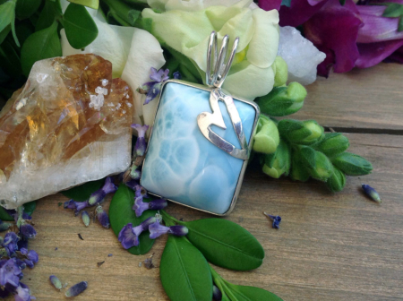 Larimar Square Stone in Silver Wrap #4069