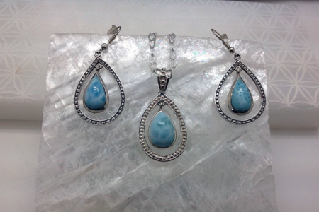 Larimar Teardrop Pendant & Earrings #4150