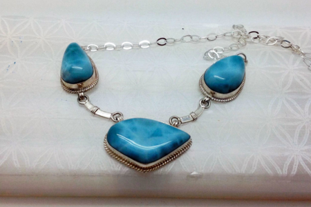Larimar Three Stones Necklace #4152