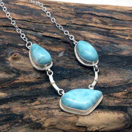 Larimar Three Stones Necklace #4152