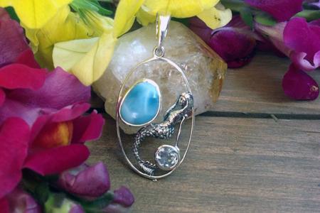 Larimar & Topaz Mermaid Silver Pendant