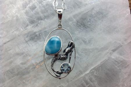 Larimar Mermaid Silver Pendant ssg 4152