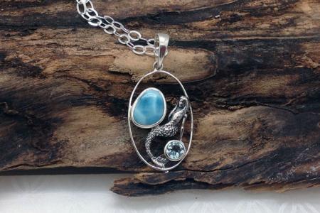 Larimar Mermaid Silver Pendant ssg 4156