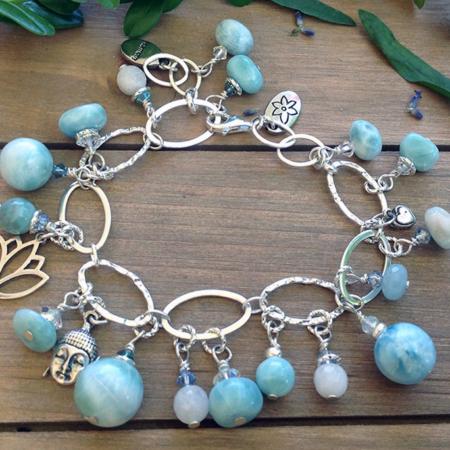"""Larimar """"Buddha Zen"""" Bead Bracelet #4158"""