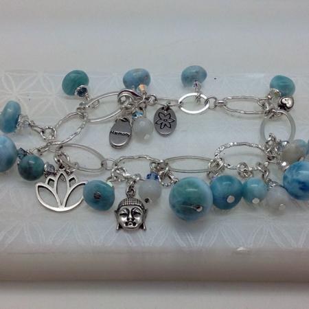 Larimar Buddha Zen Bracelet #4158